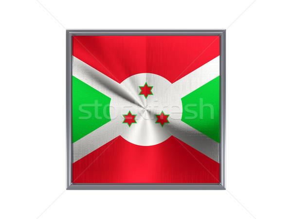Praça metal botão bandeira Burundi isolado Foto stock © MikhailMishchenko