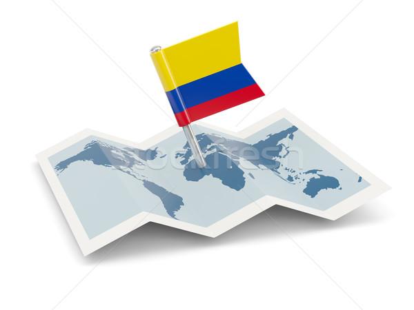Kaart vlag Colombia geïsoleerd witte Stockfoto © MikhailMishchenko
