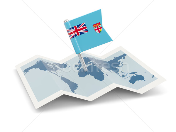 Kaart vlag Fiji geïsoleerd witte Stockfoto © MikhailMishchenko