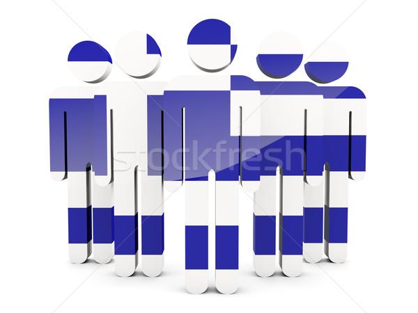 Persone bandiera Grecia isolato bianco folla Foto d'archivio © MikhailMishchenko