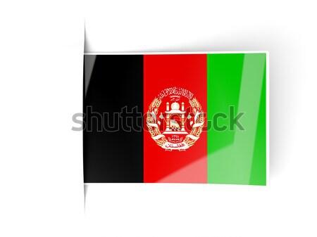 квадратный Label флаг Афганистан изолированный белый Сток-фото © MikhailMishchenko