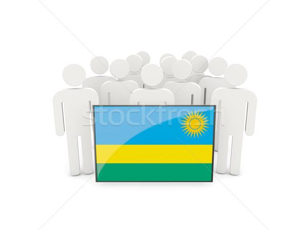 Personnes pavillon Rwanda isolé blanche réunion Photo stock © MikhailMishchenko