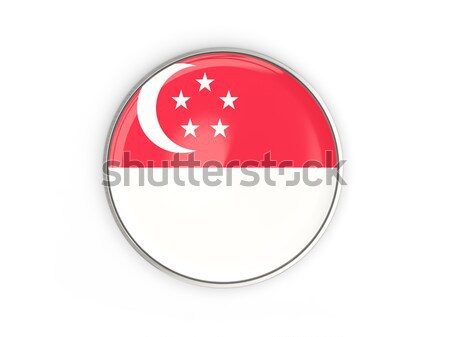Stock photo: Round button with flag of singapore