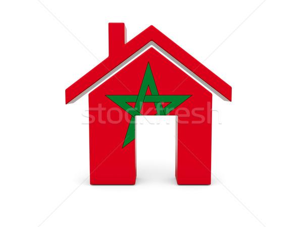 Casa bandeira Marrocos isolado branco pesquisar Foto stock © MikhailMishchenko