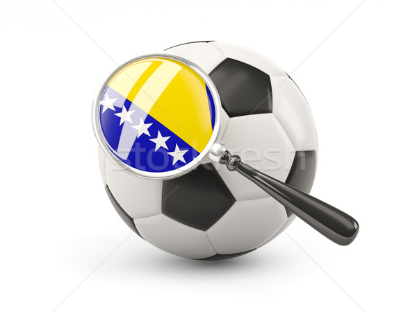 Fútbol ampliada bandera Bosnia Herzegovina aislado blanco Foto stock © MikhailMishchenko