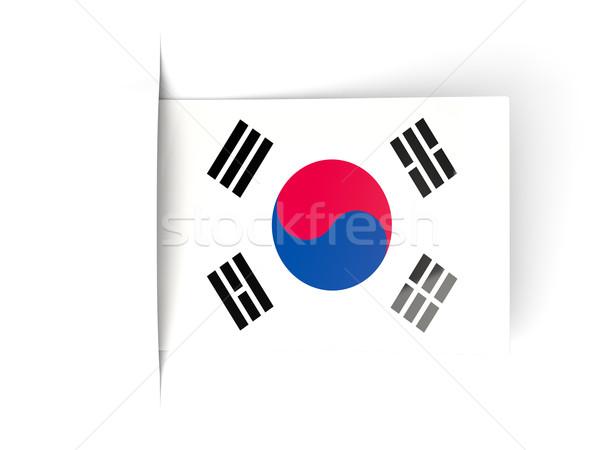 Square label with flag of korea south Stock photo © MikhailMishchenko