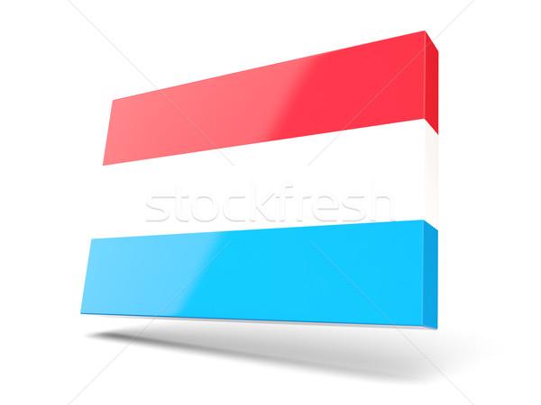 Vierkante icon vlag Luxemburg geïsoleerd witte Stockfoto © MikhailMishchenko