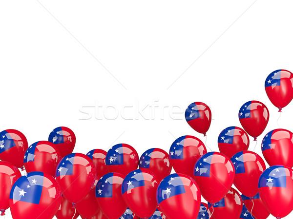 Voador balões bandeira Samoa isolado branco Foto stock © MikhailMishchenko