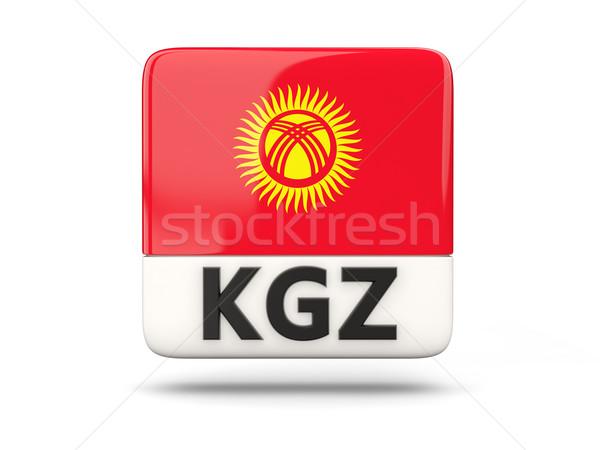 Kare ikon bayrak Kırgızistan iso kod Stok fotoğraf © MikhailMishchenko