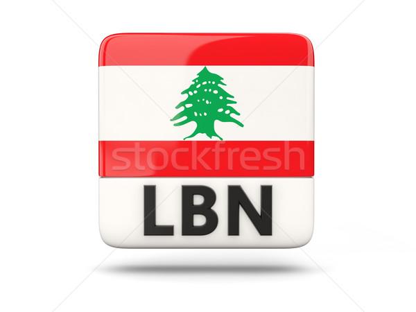 квадратный икона флаг Ливан iso Код Сток-фото © MikhailMishchenko