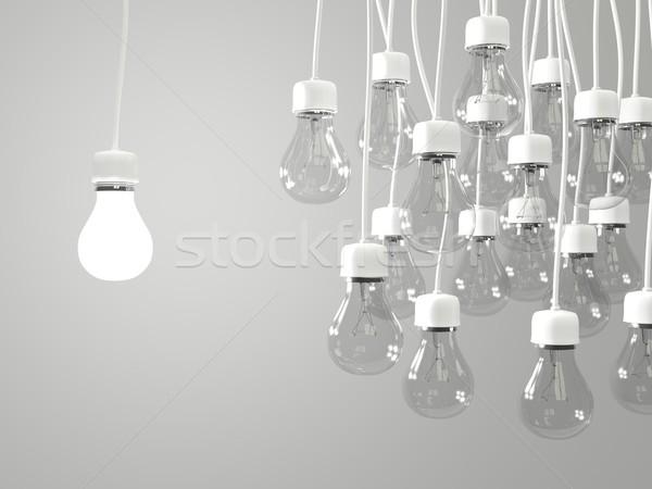 Parlak ampul düzenli ampuller ışık yeşil Stok fotoğraf © MikhailMishchenko