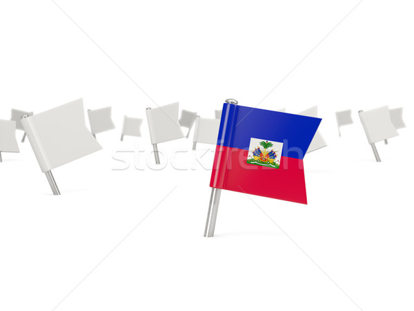 Carré broches pavillon Haïti isolé blanche Photo stock © MikhailMishchenko