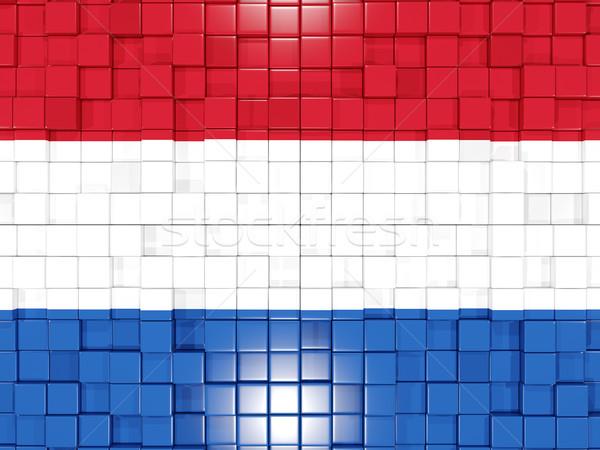 Platz Teile Flagge Niederlande 3D Mosaik Stock foto © MikhailMishchenko