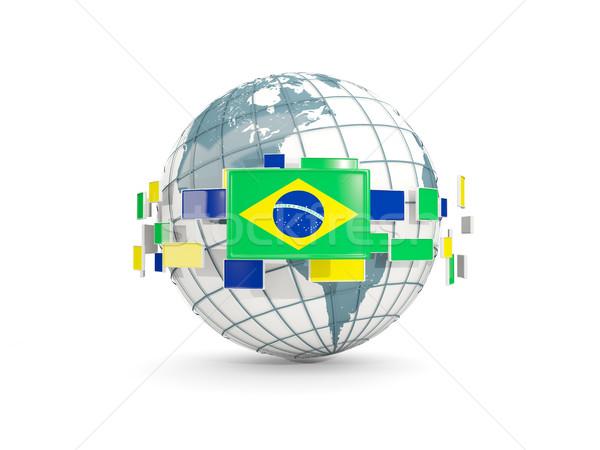 Globe with flag of brazil isolated on white Stock photo © MikhailMishchenko