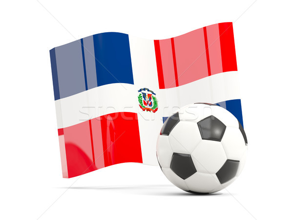 Football with waving flag of dominican republic isolated on whit Stock photo © MikhailMishchenko