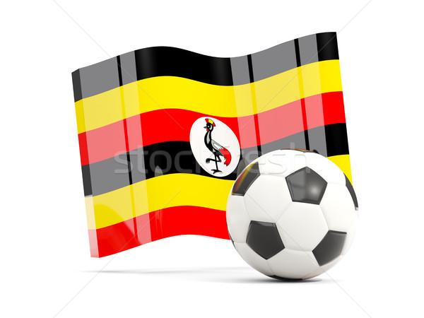 Football with waving flag of uganda isolated on white Stock photo © MikhailMishchenko