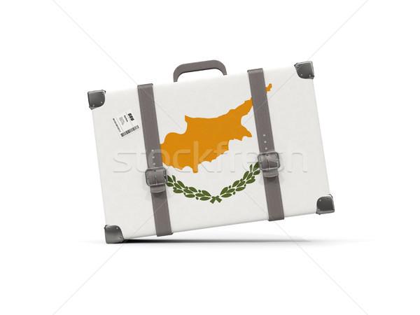 Csomagok zászló Ciprus bőrönd izolált fehér Stock fotó © MikhailMishchenko