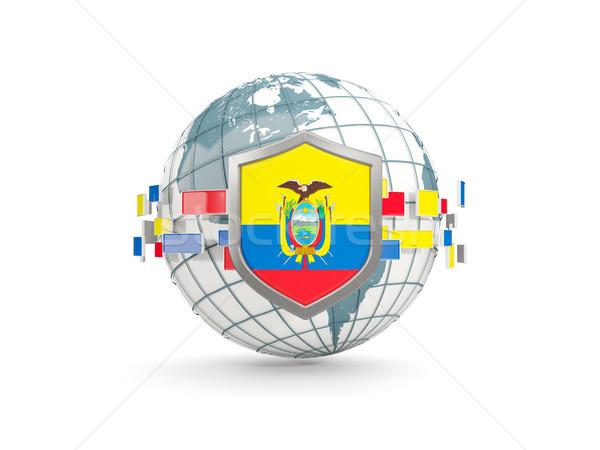 Wereldbol schild vlag Ecuador geïsoleerd witte Stockfoto © MikhailMishchenko