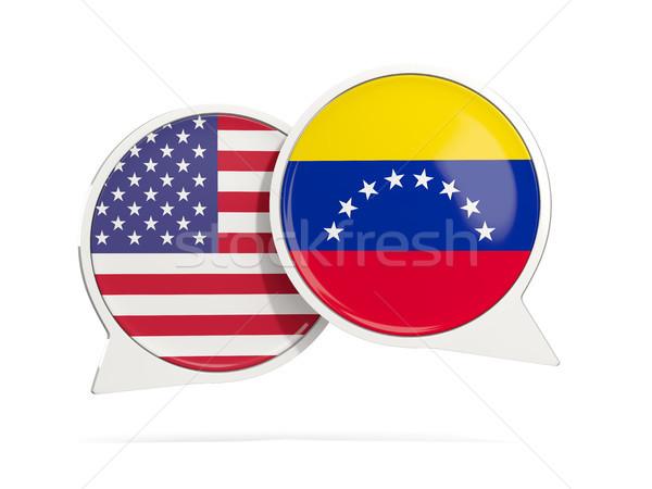 Chat bubbles of USA and Venezuela isolated on white Stock photo © MikhailMishchenko