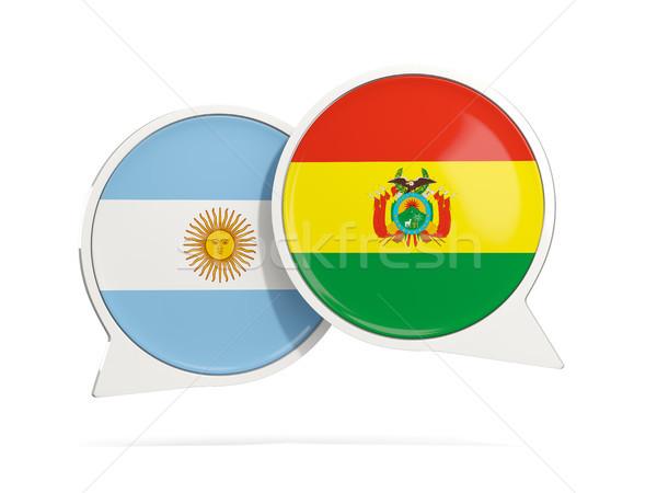Conversar bubbles Argentina Bolívia isolado branco Foto stock © MikhailMishchenko