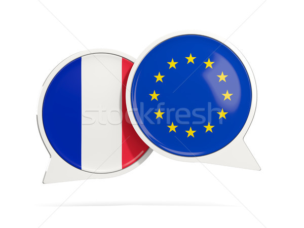 Stock photo: Chat bubbles of France and EU isolated on white
