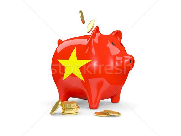 Yağ kumbara Vietnam para yalıtılmış beyaz Stok fotoğraf © MikhailMishchenko