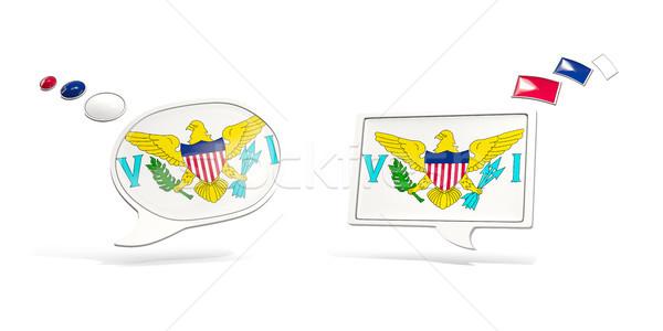 два чате иконки флаг Виргинские о-ва квадратный Сток-фото © MikhailMishchenko