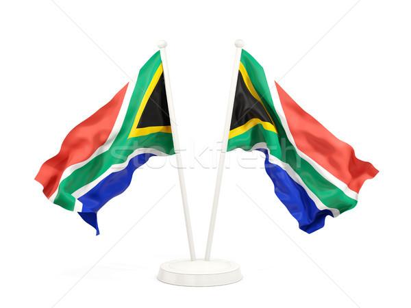 Zwei Fahnen Südafrika isoliert weiß Stock foto © MikhailMishchenko