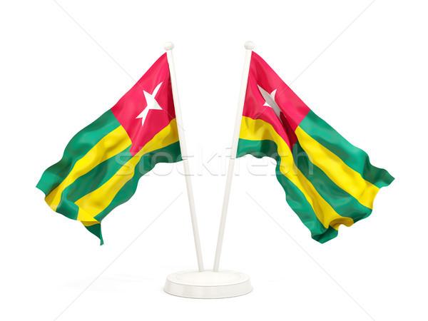 Due bandiere Togo isolato bianco Foto d'archivio © MikhailMishchenko