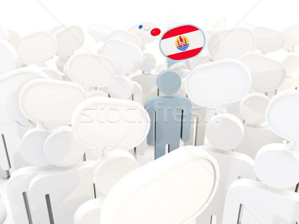 Uomo bandiera francese polinesia folla illustrazione 3d Foto d'archivio © MikhailMishchenko