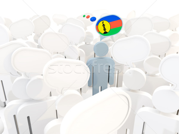 Man with flag of new caledonia in a crowd Stock photo © MikhailMishchenko