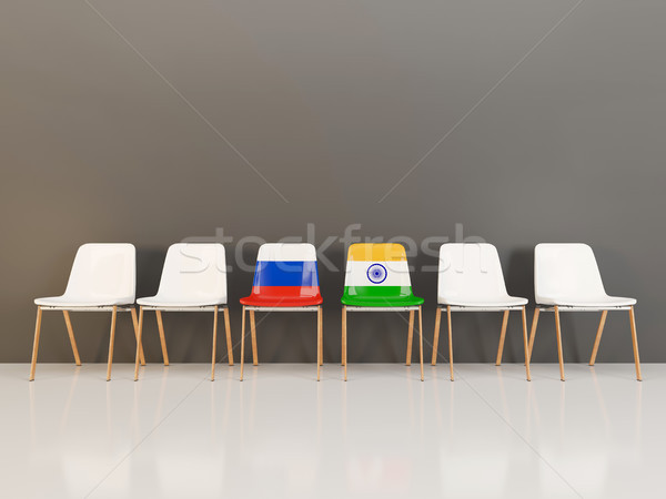 Chairs with flag of Russia and india Stock photo © MikhailMishchenko