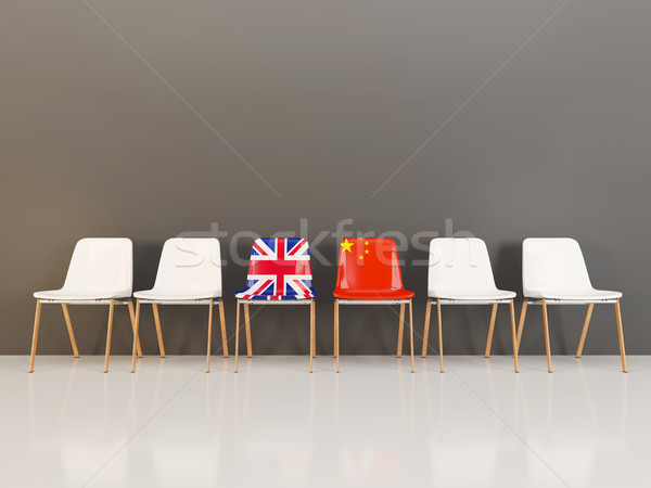 Chairs with flag of United Kingdom and china Stock photo © MikhailMishchenko