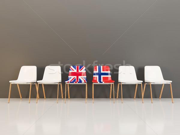 Sandalye bayrak Büyük Britanya Norveç 3d illustration Stok fotoğraf © MikhailMishchenko