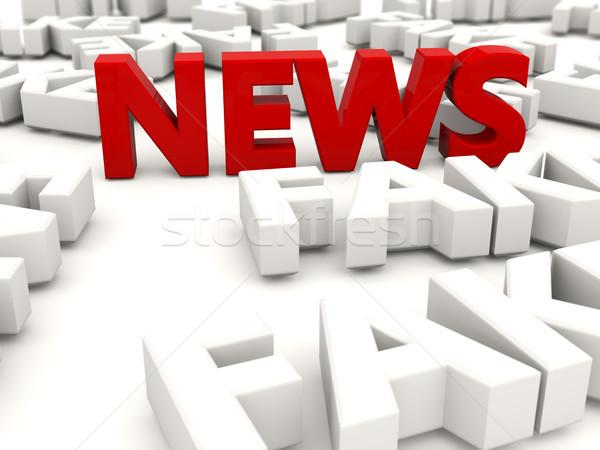 Stockfoto: Rood · nieuws · brieven · namaak · woorden · geïsoleerd