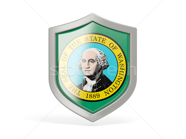 Shield icon with flag of washington. United states local flags Stock photo © MikhailMishchenko