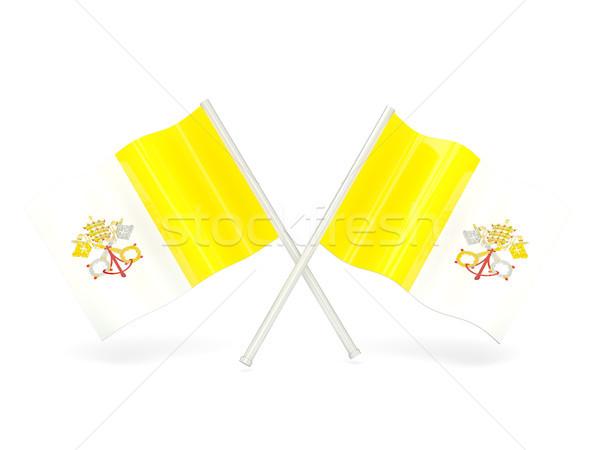 Banderą Watykan dwa falisty flagi odizolowany Zdjęcia stock © MikhailMishchenko