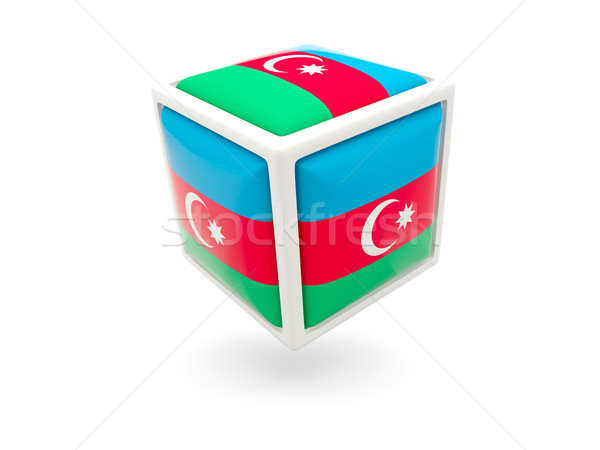 Stock fotó: Zászló · Azerbajdzsán · kocka · ikon · izolált · fehér