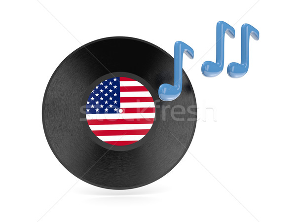 Vinyl disk with flag of united states of america Stock photo © MikhailMishchenko