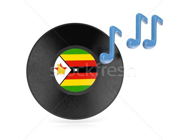 Bakelit lemez zászló Zimbabwe izolált fehér Stock fotó © MikhailMishchenko