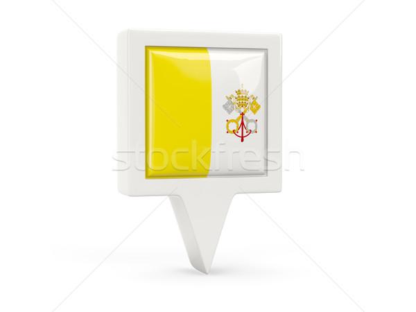 Placu banderą ikona Watykan odizolowany biały Zdjęcia stock © MikhailMishchenko