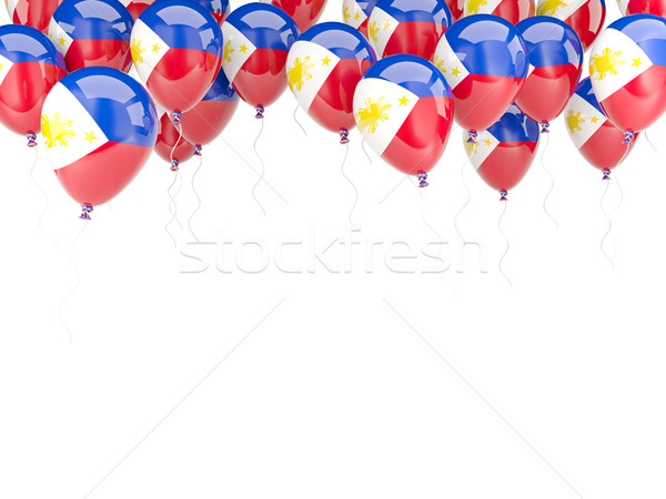 Ballon frame vlag Filippijnen geïsoleerd witte Stockfoto © MikhailMishchenko
