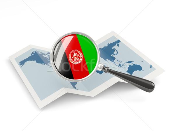 Bayrak Afganistan harita beyaz Stok fotoğraf © MikhailMishchenko