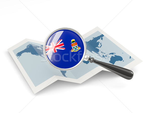 Magnified flag of cayman islands with map Stock photo © MikhailMishchenko