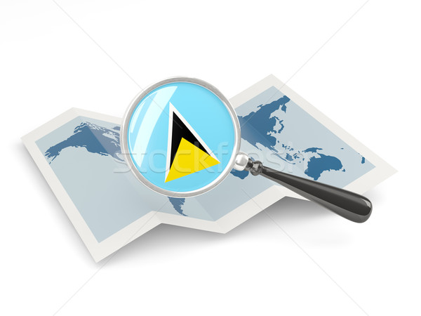 Magnified flag of saint lucia with map Stock photo © MikhailMishchenko