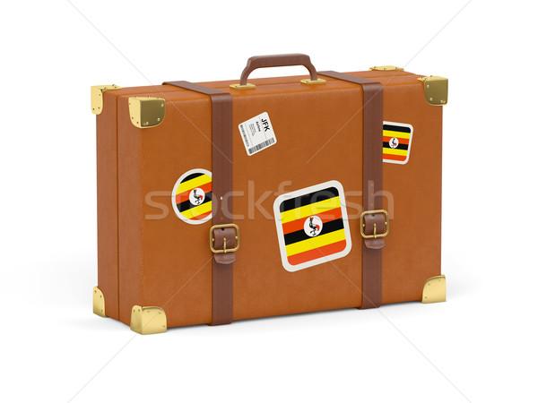 Bavul bayrak Uganda seyahat yalıtılmış beyaz Stok fotoğraf © MikhailMishchenko