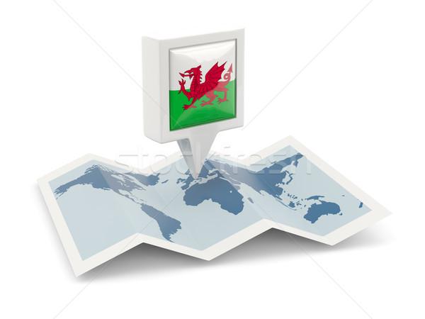 Cuadrados pin bandera gales mapa viaje Foto stock © MikhailMishchenko