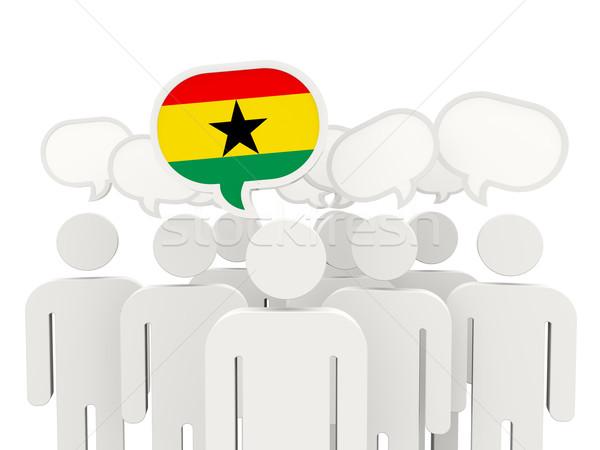 люди флаг Гана изолированный белый заседание Сток-фото © MikhailMishchenko