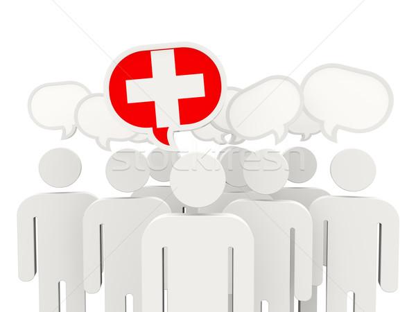 Ludzi banderą Szwajcaria odizolowany biały spotkanie Zdjęcia stock © MikhailMishchenko