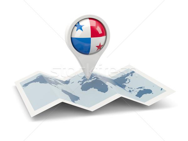 Tő zászló Panama térkép utazás fehér Stock fotó © MikhailMishchenko